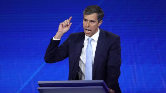 Democratic presidential candidate former Texas congressman Beto O'Rourke speaks during the Democratic Presidential Debate at Texas Southern University's Health and PE Center on September 12, 2019 in Houston, Texas. Ten Democratic presidential hopefuls were chosen from the larger field of candidates to participate in the debate hosted by ABC News in partnership with Univision.