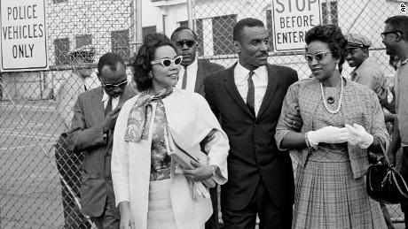 Coretta Scott King, left, and Juanita Abernathy leave the Birmingham jail after visiting their husbands.