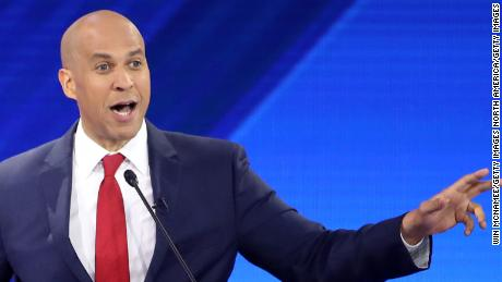 HOUSTON, TEXAS - SEPTEMBER 12: Democratic presidential candidate Sen. Cory Booker (D-NJ) speaks as South Bend, Indiana Mayor Pete Buttigieg looks on during the Democratic Presidential Debate at Texas Southern University's Health and PE Center on September 12, 2019 in Houston, Texas. Ten Democratic presidential hopefuls were chosen from the larger field of candidates to participate in the debate hosted by ABC News in partnership with Univision. (Photo by Win McNamee/Getty Images)