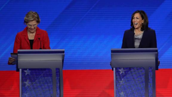 HOUSTON, TEXAS - SEPTEMBER 12: Democratic presidential candidates Sen. Elizabeth Warren (D-MA) and Sen. Kamala Harris (D-CA) laugh during the Democratic Presidential Debate at Texas Southern University's Health and PE Center on September 12, 2019 in Houston, Texas. Ten Democratic presidential hopefuls were chosen from the larger field of candidates to participate in the debate hosted by ABC News in partnership with Univision. (Photo by Win McNamee/Getty Images)