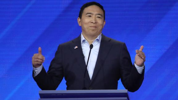 HOUSTON, TEXAS - SEPTEMBER 12: Democratic presidential candidate former tech executive Andrew Yang speaks during the Democratic Presidential Debate at Texas Southern University's Health and PE Center on September 12, 2019 in Houston, Texas. Ten Democratic presidential hopefuls were chosen from the larger field of candidates to participate in the debate hosted by ABC News in partnership with Univision. (Photo by Win McNamee/Getty Images)