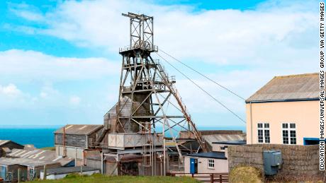 A restored head frame in the old Geevor tin mine in Pendeen, Cornwall,