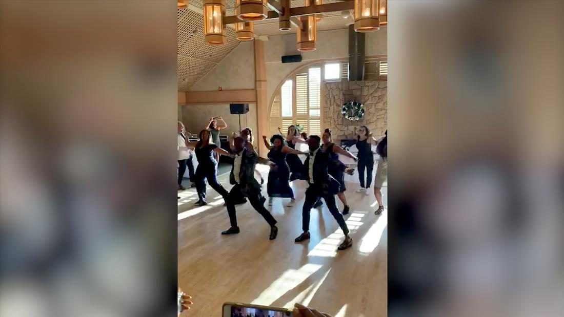 Watch an incredible flash dance form at a wedding party