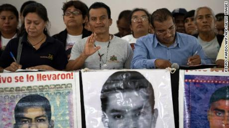 Relatives of some of the 43 missing students of Ayotzinapa, after meeting with Mexican President Andres Manuel Lopez Obrador.