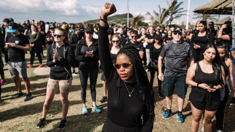 Women march on September 7 in Durban against gender-based violence.