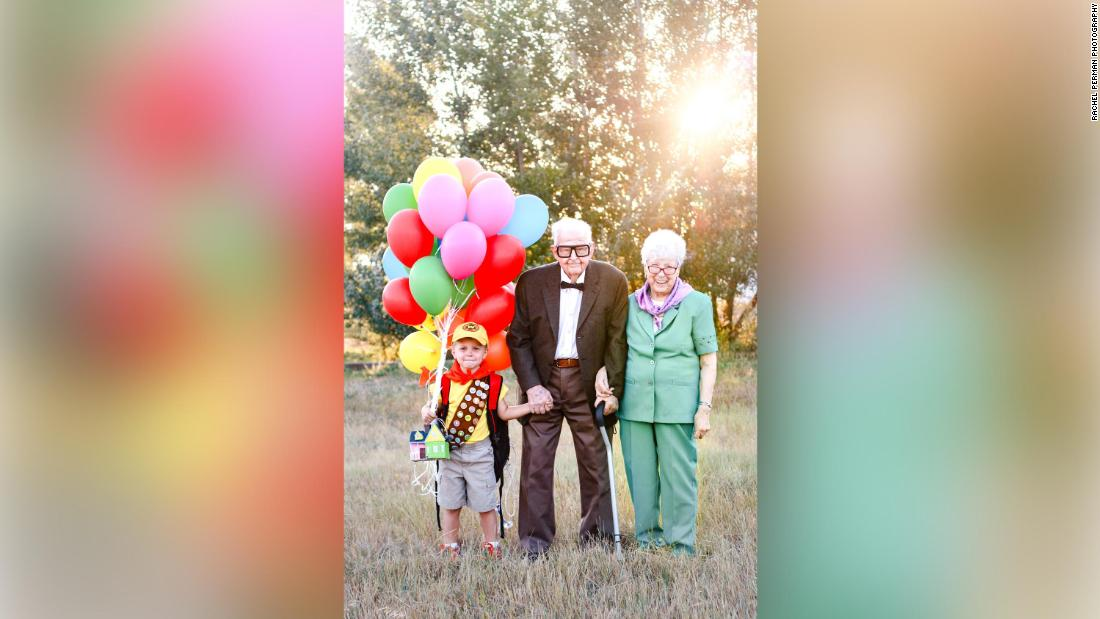This 5-year-old is so obsessed with 'Up' that he made his 90-year-old great-grandparents dress up for a birthday photo shoot