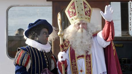 Sinterklaas and Zwarte Piet (Black Pete) in Antwerp.