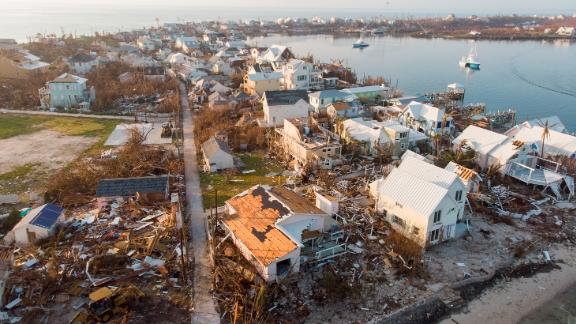 An aerial view of view of damaged homes in Hurricane Dorian devastated Elbow Key Island on September 7, 2019 in Elbow Key Island, Bahamas.  The official death toll has risen to 43 and according to officials is likely to increase even more.