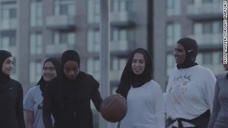 Muslim women play basketball in a video released by the Toronto Raptors.