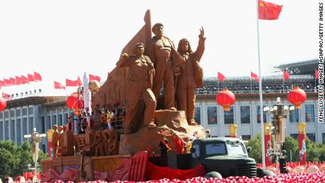 A float takes part in a parade marking the 60th anniversary of the founding of the People's Republic of China on October 1, 2009 in Beijing.