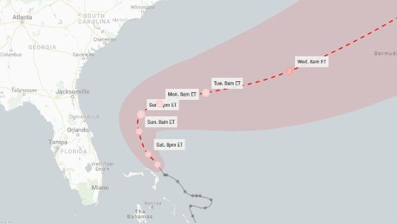 A forecast track for Humberto as of 2 p.m. ET Saturday.