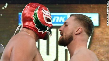 Tyson Fury wore a luchador, or Mexican professional wrestler, mask to the Thursday weigh-in with Otto Wallin.