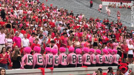 Red is normally the dominant color for University of Georgia fans, but pink carried the day Saturday.