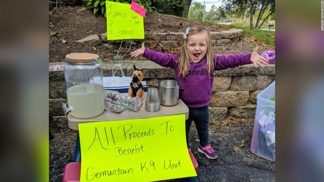 A 3-year-old's lemonade stand made over $700 for the police K9 unit. It's even cuter than you think it is