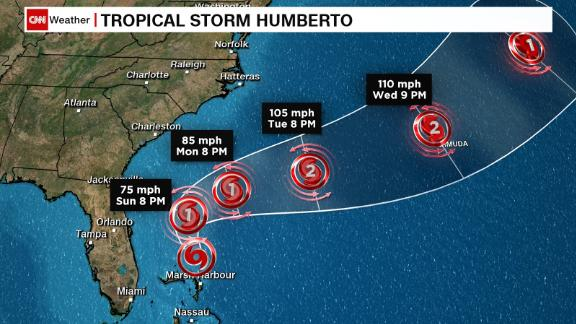 Image for Tropical Storm Humberto is forecast to strengthen into a hurricane Sunday