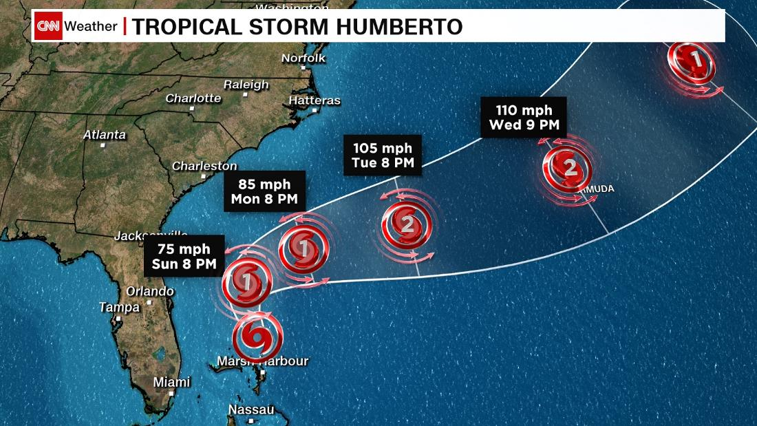 Tropical Storm Humberto is forecast to strengthen into a hurricane Sunday