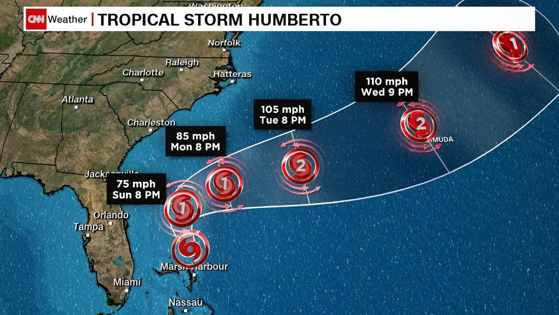 Η τροπική Καταιγίδα Humberto αναμένεται να ενισχυθεί σε τυφώνα κυριακή