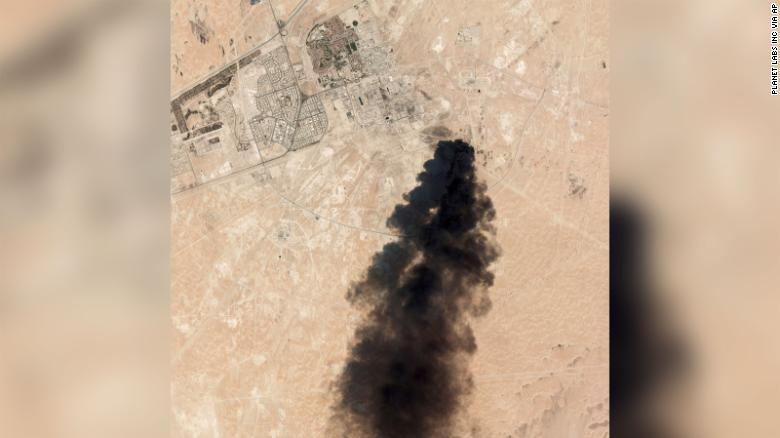 A satellite image taken Saturday, September 14, 2019, shows thick black smoke rising from the Abqaiq oil processing facility in Saudi Arabia.