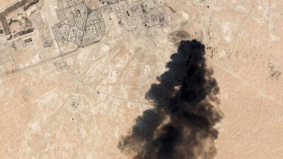 This satellite image from Planet Labs Inc. taken on Saturday, September 14, shows thick black smoke rising from the Abqaiq oil plant.