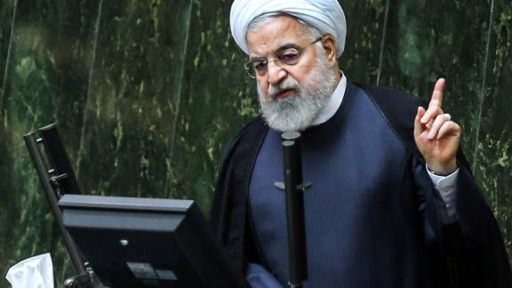 Iran's President Hassan Rouhani speaks at parliament in the capital Tehran on September 3, 2019.