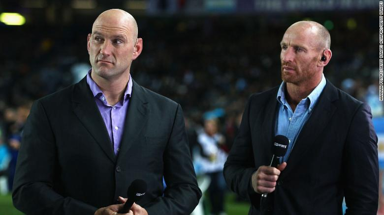 Gareth Thomas was the first professional rugby union player to announce that he was gay in 2009. He is pictured here in 2011 alongside former British rugby player, Lawrence Dallaglio.