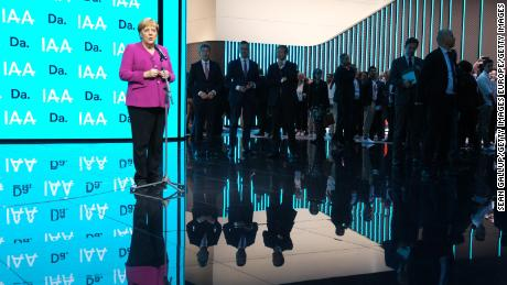 German Chancellor Angela Merkel opened the motor show in Frankfurt Thursday, calling on manufacturers to invest more in the development of sustainable vehicles.