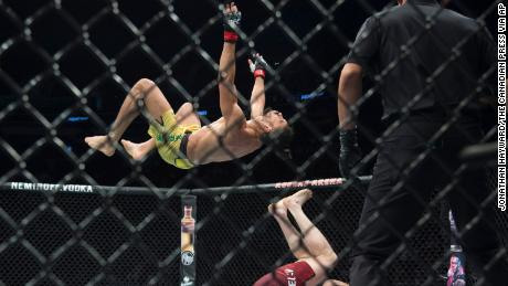 Michel Pereira is suspended in mid-air during his faceoff against Tristan Connelly at UFC Fight Night in Vancouver on Saturday.
