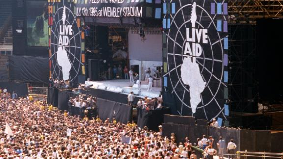 The crowds gather for the Live Aid concert on July 13, 1985 in London, England. The Live Aid event was held simultaneously at Wembley Stadium, London and the JFK Stadium, Philadelphia.