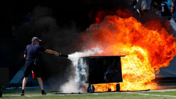 Before the Tennessee Titans faced the Indianapolis Colts, a small fire scorched the field near the north end zone.