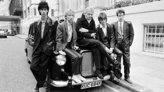 American group 'The Cars'. Consisting of Ric Ocasek, Elliot Easton, Greg Harkes, David Robinson and Ben Orr. 16th October 1984. (Photo by Bill Kennedy/Mirrorpix/Getty Images)
