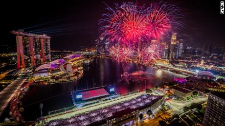 Fireworks light up the sky at the Singapore GP.