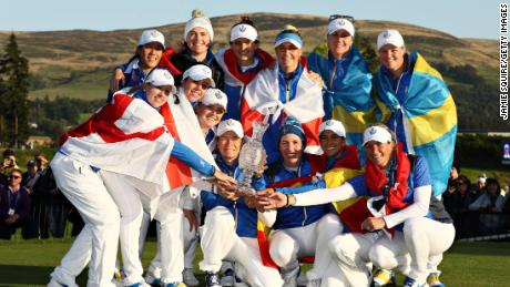 Europe's victorious Solheim Cup team celebrate in Scotland.