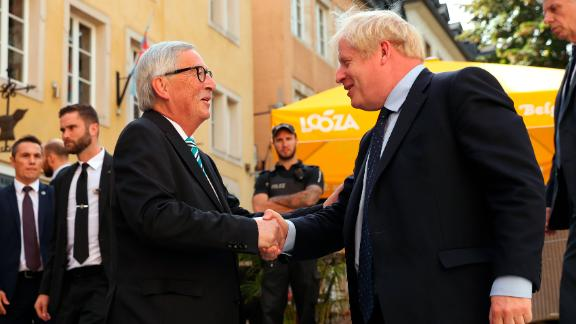 LUXEMBOURG, LUXEMBOURG - SEPTEMBER 16: European Commission President Jean-Claude Juncker greets British Prime Minister Boris Johnson at the European Commission Representation on September 16, 2019 in Luxembourg. British Prime Minister Boris Johnson is holding his first meeting with European Commission President Jean-Claude Juncker in search of a Brexit deal. (Photo by Francisco Seco - Pool/Getty Images)
