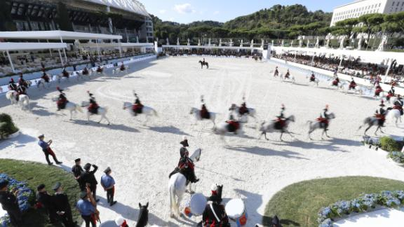 Rome: Italy's famed Carosello IV Reggimento Carabinieri a Cavallo put on a display for the Global Champions Tour spectators in Rome.