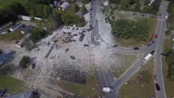 Drone aerials from the Lewiston Sun Journal show the aftermath of the building explosion.