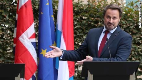 Luxembourg's Prime Minister Xavier Bettel at a news conference after his meeting with British Prime Minister Boris Johnson.