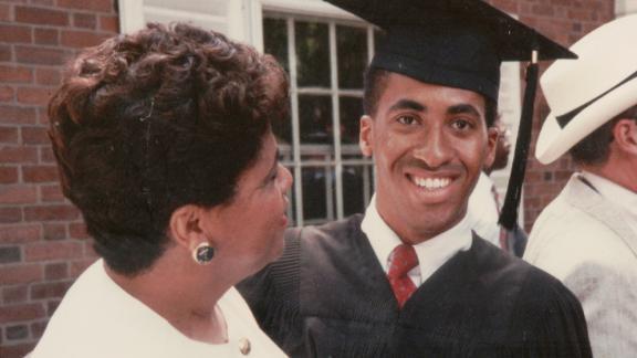 Shawn Pleasants at his Yale graduation with his mom, Gloria.