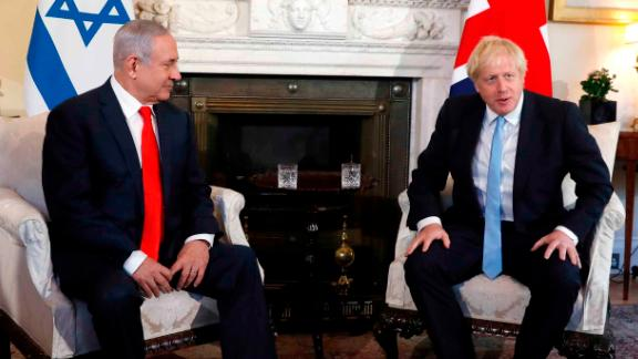 Netanyahu meets with British Prime Minister Boris Johnson in London in September 2019.