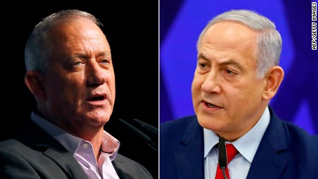The parties of former army boss Benny Gantz (left) and Prime Minister Benjamin Netanyahu (right) appear to be locked in a tight race.