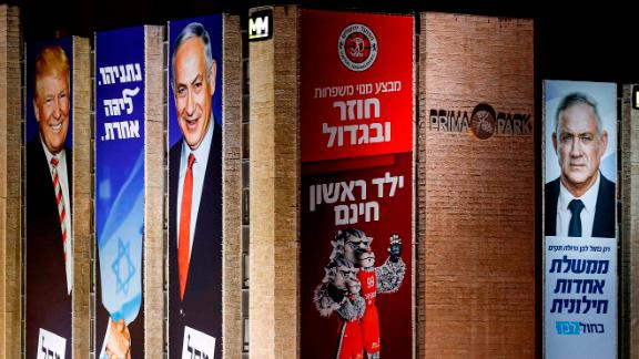Israeli election banners in Jerusalem in September from the Likud party (left), and the Blue and White party (right).