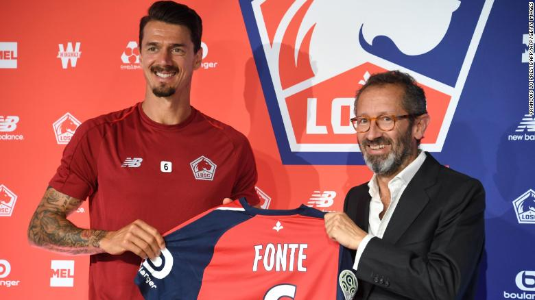 José Fonte with Marc Ingla after signing for Lille.