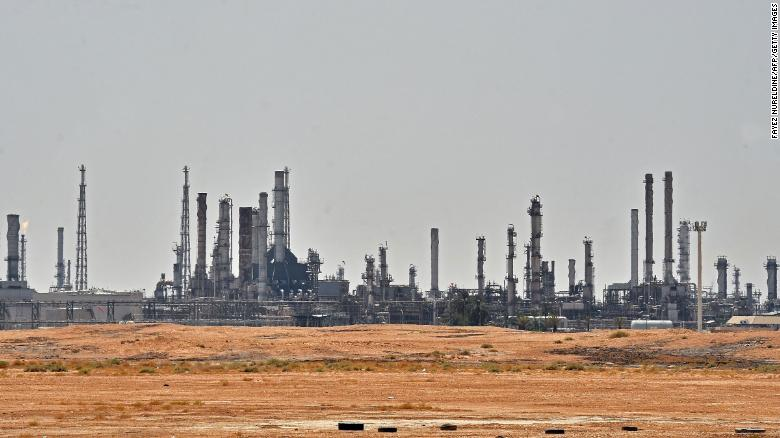 A picture taken on September 15, 2019 shows an Aramco oil facility near al-Khurj area, just south of the Saudi capital Riyadh. Saudi Arabia raced today to restart operations at oil plants hit by drone attacks which slashed its production by half, as Iran dismissed US claims it was behind the assault.