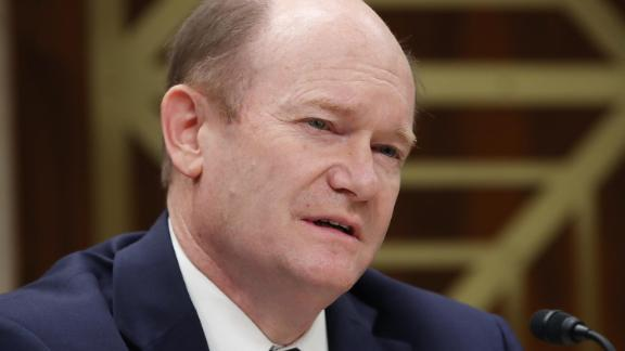 Sen. Christopher Coons (D-DE) participates in a Senate Appropriations Subcommittee hearing on Capitol Hill May 8, 2019 in Washington, DC. The Subcommittee is hearing testimony regarding FY2020 budget requests for the Securities and Exchange Commission and the Commodity Futures Trading Commission.