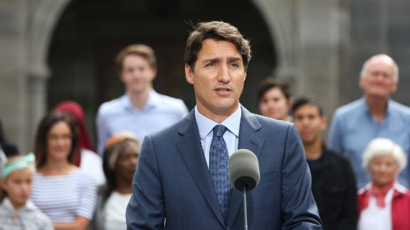 """Canadian Prime Minister Justin Trudeau speaks during a news conference at Rideau Hall in Ottawa on September 11, 2019. Trudeau said officials are investigating the Ortis case """"at the highest levels, including with our allies."""""""