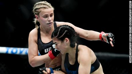VanZant fights against Rachael Ostovich during their flyweight fight.