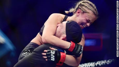VanZant celebrates after her win over Rachael Ostovich.
