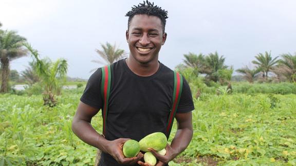 Alhaji Siraj Bah makes eco-friendly products in Sierra Leone.