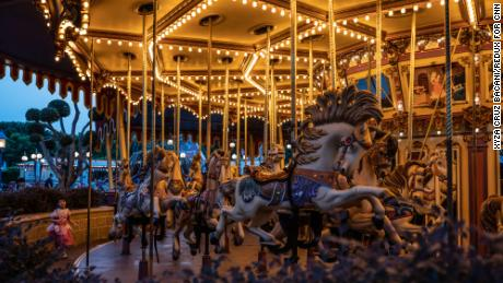 An empty Cinderella carousel in Hong Kong Disneyland.