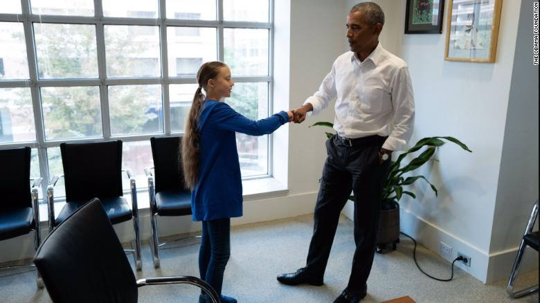 Barack Obama meets with Swedish environmental activist Greta Thunberg in Washington, DC on September 16.