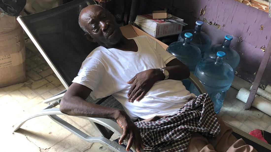Presendieu Pierre Mervil, 81, survived the hurricane but suffers from body pains.